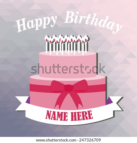 Happy Birthday Cake Illustration Over Color Background