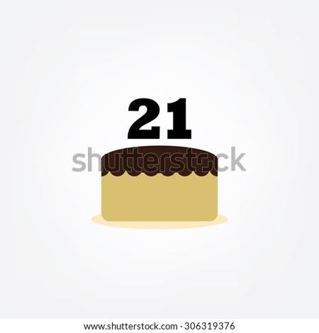 Happy Birthday Cake Number 21 Icon Flat Design