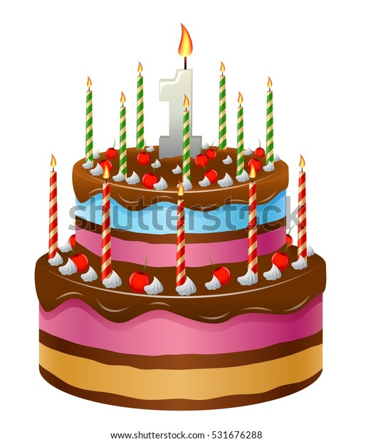 Superb Happy Birthday Cake Numbers 1 Stock Vector Royalty Free 531676288 Funny Birthday Cards Online Amentibdeldamsfinfo