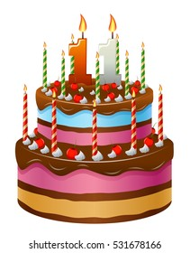 Happy Birthday cake, numbers 11