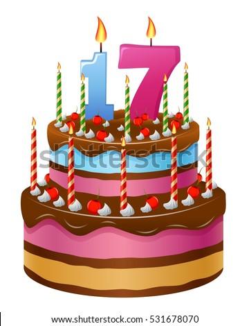 Happy Birthday Cake Numbers 17