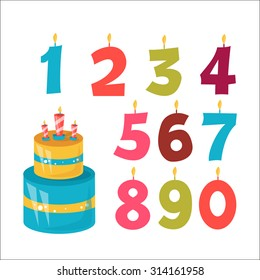 Happy Birthday cake and numbers
