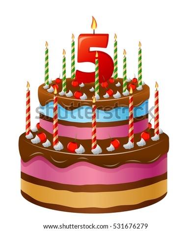 Happy Birthday Cake Numbers 5