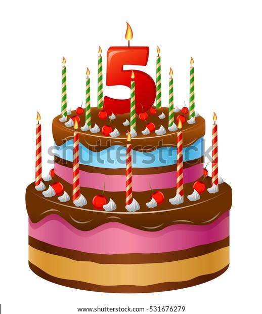Sensational Happy Birthday Cake Numbers 5 Stock Vector Royalty Free 531676279 Funny Birthday Cards Online Aboleapandamsfinfo