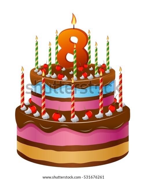 Happy Birthday Cake Numbers 8