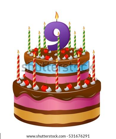 Happy Birthday Cake Numbers 9