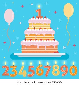 Happy Birthday cake with numbers candles. Party and celebration design elements. Flat style vector illustration.