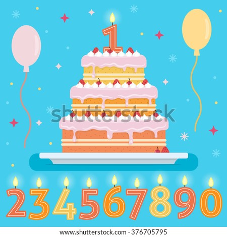 Happy Birthday Cake With Numbers Candles Party And Celebration Design Elements Flat Style Vector