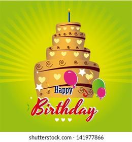 happy birthday cake over green background vector illustration