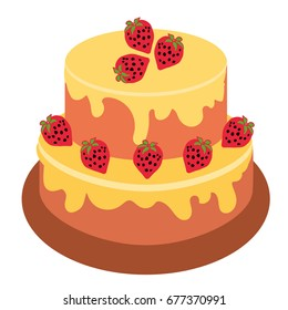 Happy Birthday Cake Party And Celebration Design Elements Flat Style Vector Illustration Pink