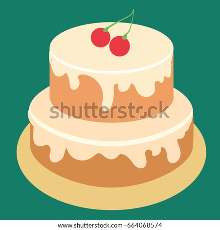 Happy Birthday Cake Party And Celebration Design Elements Flat Style Vector Illustration