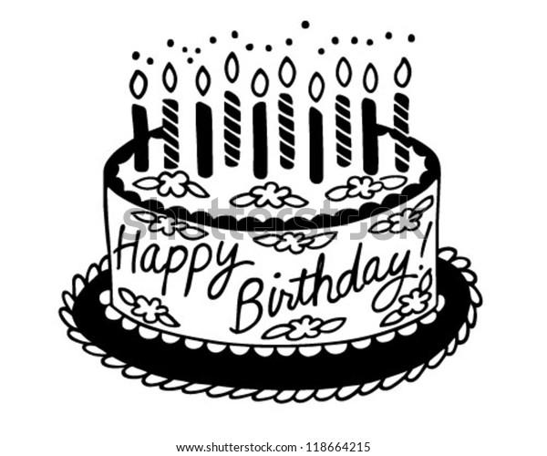 Astounding Happy Birthday Cake Retro Clipart Illustration Stock Vector Funny Birthday Cards Online Alyptdamsfinfo