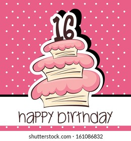 Happy Birthday Cake Vector Background design with Age Candle