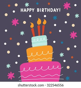 Happy birthday cake vector card design