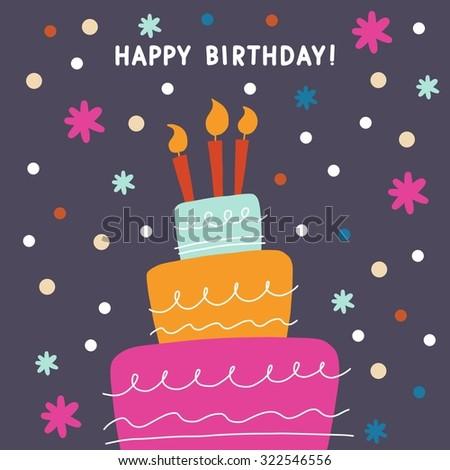 Happy Birthday Cake Vector Card Design Image Vectorielle De Stock