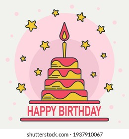 Happy birthday cake vector illustration for the holiday. For your website, greeting card, holiday banner