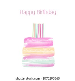 Happy Birthday cake watercolor vector-illustration. Birthday background concept
