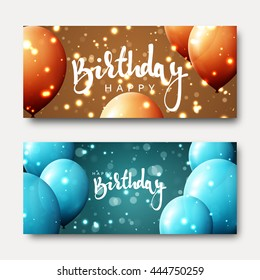 Happy birthday calligraphic inscription with balloons and light effects. Greeting card. Festive banner template design. Bright postcard for child's