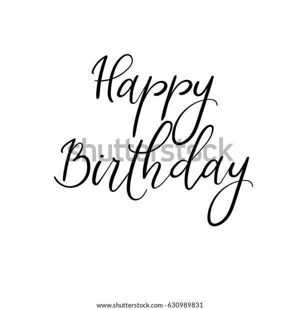 Happy Birthday Calligraphy Greeting Card Handwritten Stok