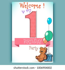 Happy birthday candle number 1 bday party, cartoon bear, card