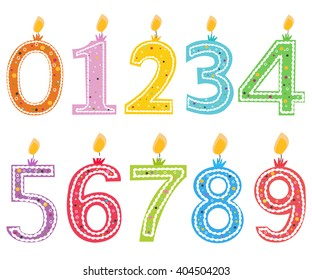 Happy birthday candle. Numbered birthday candles vector