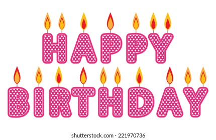 Happy Birthday Candles Clip Art Set Pink Candle Graphics Created Using Vector Software