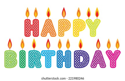 Happy Birthday Candles Clip Art Set Colorful Cake Graphics Created Using Vector Software