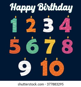 Happy Birthday Candles In Numbers For Your Family Party Vector Illustration