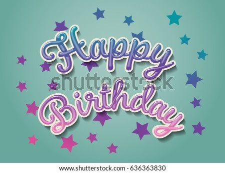 Happy Birthday Card 3 D Text Shadow Stock Vector Royalty Free