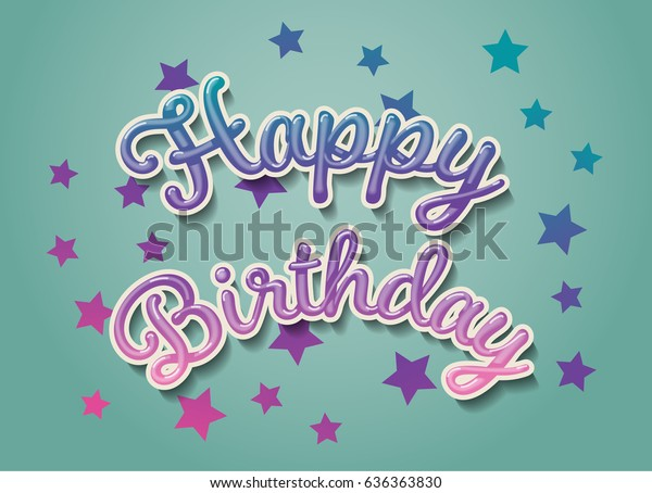 Happy Birthday Card 3d Text With Shadow Eps10