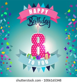 Happy Birthday Card 8th Anniversary With Candle Number Eight Blue Background