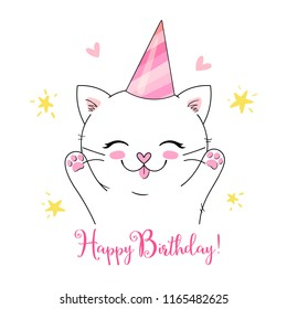 Happy birthday card with adorable cute kitten in party hat illustration and greeting phrase