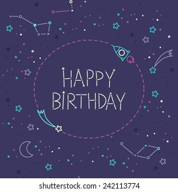 Happy Birthday Card. Adventure time style. Kid's elements for scrap-booking. Childish background. Hand drawn vector illustration.