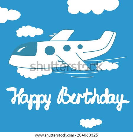 Happy Birthday Card With Airplane In The Clouds