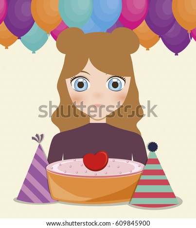 Happy Birthday Card Anime Girl Cake Stock Vector Royalty Free