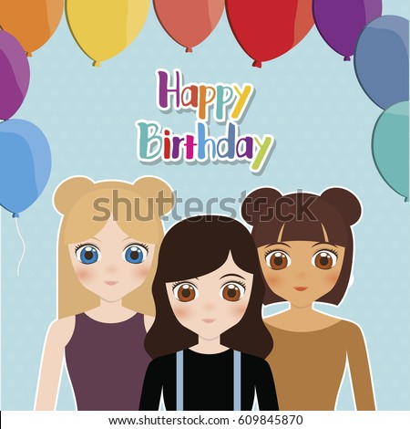 Happy Birthday Card Anime Girls Balloons Stock Vector Royalty Free