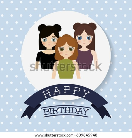 Happy Birthday Card Anime Girls Icon Stock Vector Royalty Free
