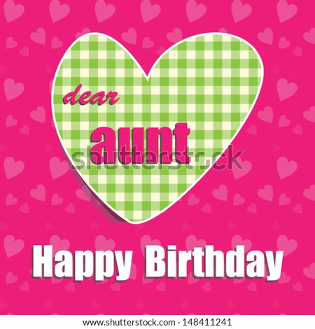 Happy Birthday Card Aunt Heart Vector Eps 10 Illustration Raster
