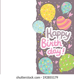 Happy Birthday card background with balloons. Vector holiday party template