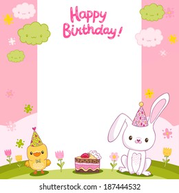 Happy Birthday card background with a bird, bunny and cake