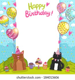 Happy Birthday card background with a cat, dog and cupcakes.