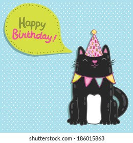 Happy Birthday card background with a cat. Vector holiday party template