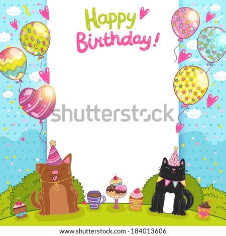 Happy Birthday Card Background Cat Dog Image Vectorielle De Stock