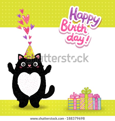 Happy Birthday Card Background With A Cat Vector Holiday Party Template