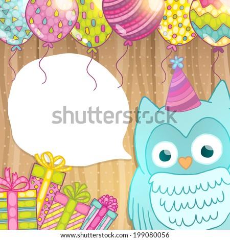 Happy Birthday Card Background Cute Cartoon Image Vectorielle De