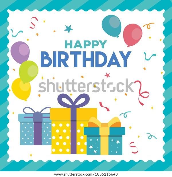 Happy Birthday Card Background Design Vector Stock Vector Royalty