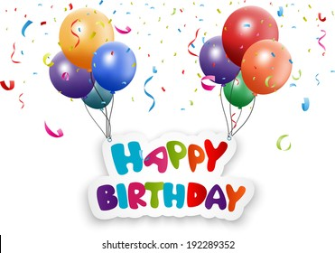 Happy birthday card with balloon and confetti