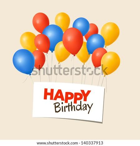 Happy Birthday Card Balloons Stock Vector Royalty Free 140337913