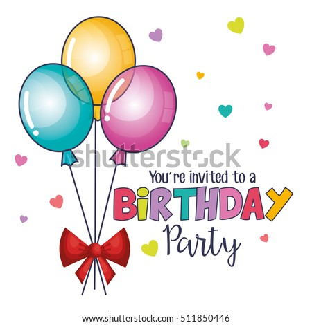 Happy Birthday Card Balloons Air Party Stock Vector Royalty Free