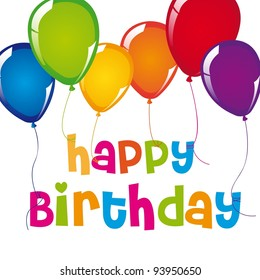 happy birthday card with balloons over white background. vector